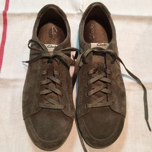 Clarks Jaqui Lo Olive Green Suede Boat Shoes 8